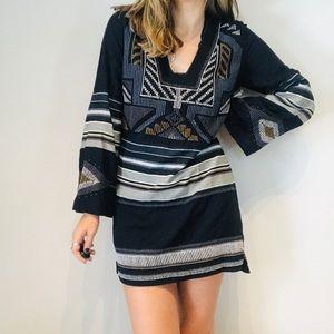 Free People geometric long sleeve peasant dress